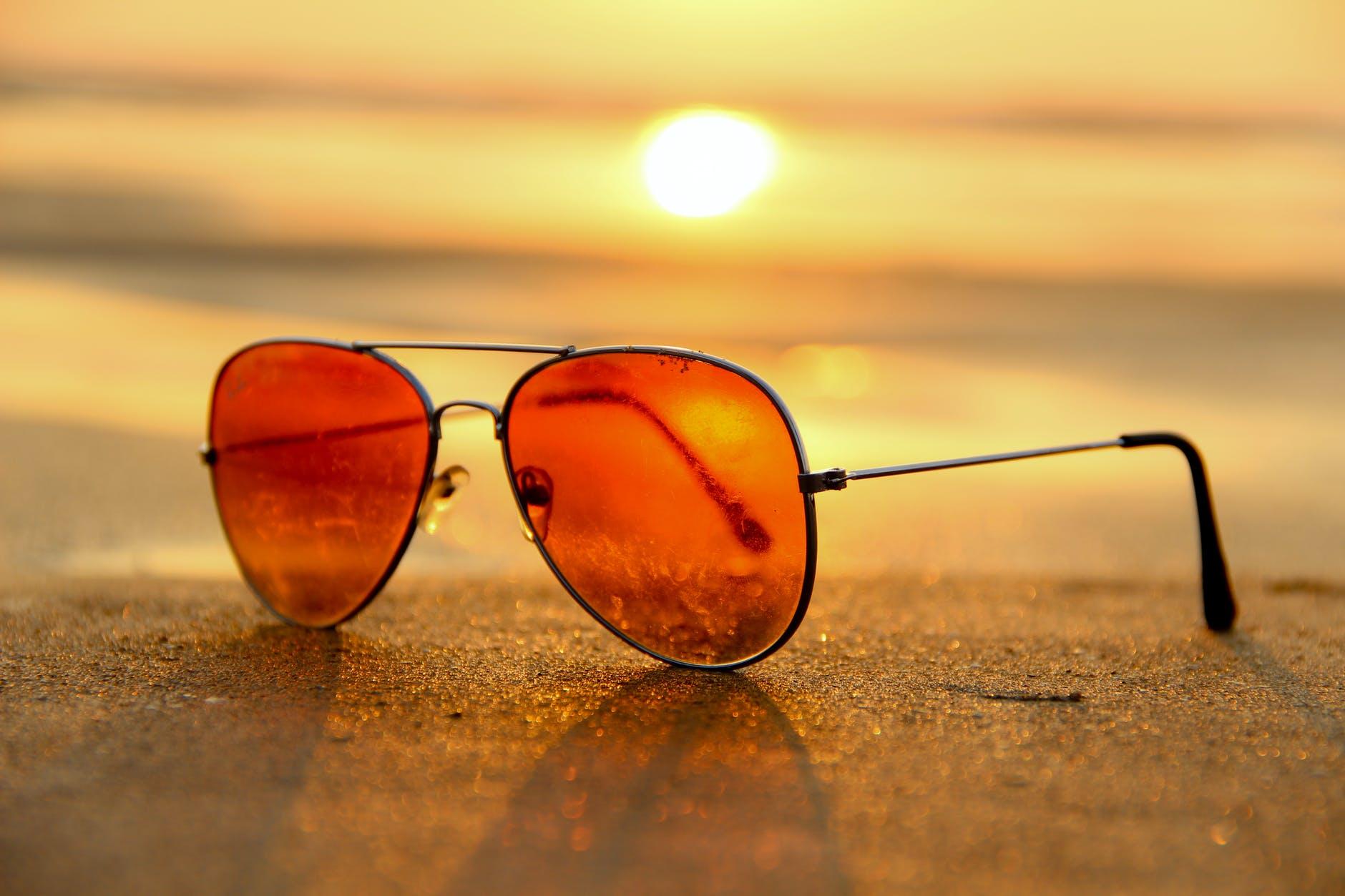 sunglasses sunset summer sand
